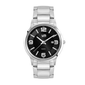 Ladies Black Case Watch Ladies Silver Stainless Steel Case, Black Sunray Dial, and Silver Stainless