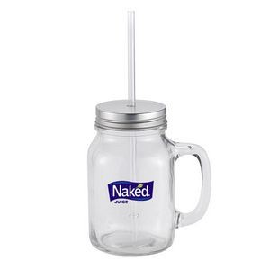 20 Oz. Jackie Mason Glass Jar w/Handle