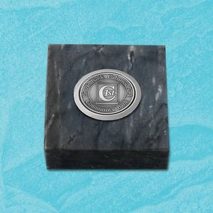"Black Marble Paperweight w/Medallion (3""x3"")"