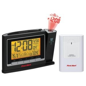 First Alert® Radio Controlled Weather Station Projection Clock w/ Wireless Sensor